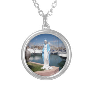 Statue Of the Virgin mary Silver Plated Necklace