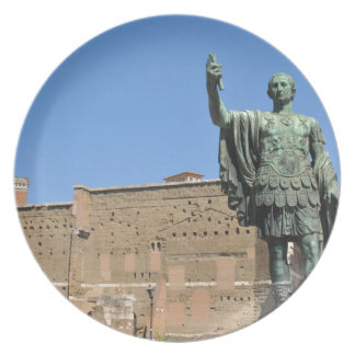 Statue of Trajan in Rome, Italy Plate