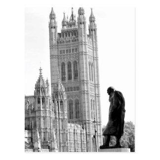 Statue of Winston Churchill in London Postcard
