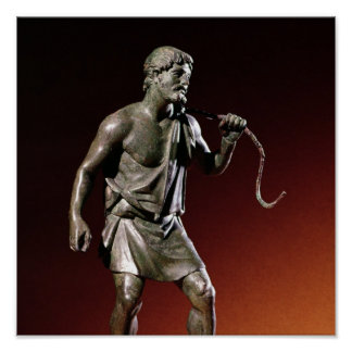 Statuette de Lararium d'un transporteur d'eau Poster