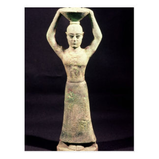 Statuette of offering bearer with votive postcard