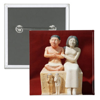 Statuette of the dwarf Seneb and his family 2 Inch Square Button