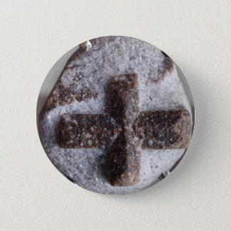 Staurolite , perfect crystal intersection 2 inch round button