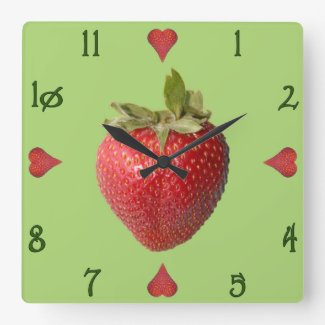 Stawberries Square Wall Clock