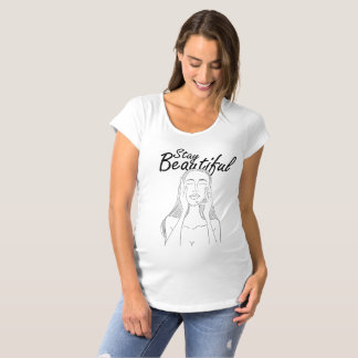 Stay Beautiful: Beautiful Long Hair Woman Line Art Maternity T-Shirt