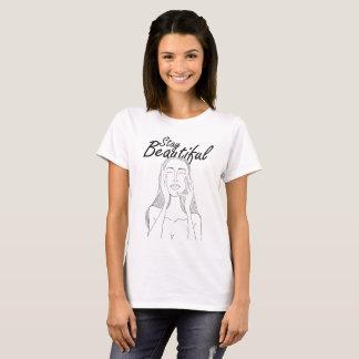 Stay Beautiful: Beautiful Long Hair Woman Line Art T-Shirt