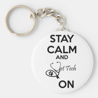 Stay Calm and vet tech on! Basic Round Button Keychain