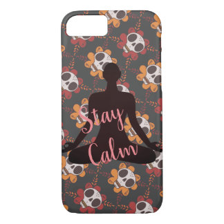 Stay calm meditated yogi and skull head texture iPhone 8/7 case