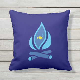 STAY COOL FISH Blue - Chill Summer Fry Custom Throw Pillow