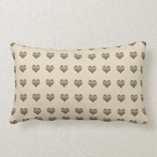 Stay Cozy Beige Grey Hearts Pattern Pillow