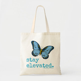 """Stay Elevated"" Blue Butterfly Tote"
