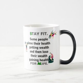 Stay Fit For Life Mug w Wealth Health Quote