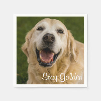 """Stay Golden"" Golden Retriever Cocktail Napkins Disposable Napkin"