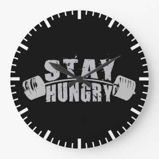 Stay Hungry - Bodybuilding Workout Motivational Large Clock