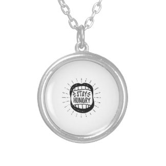 Stay Hungry Mouth Silver Plated Necklace