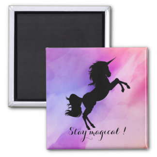 Stay magical message unicorn silhouette magnet