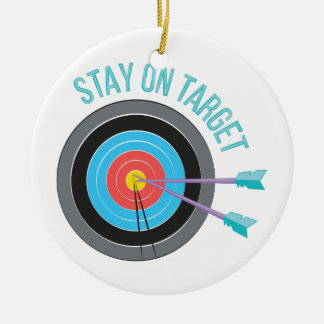 Stay On Target Round Ceramic Ornament