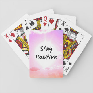 Stay Positiv Quote Pink Sky Playing Cards
