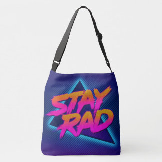 stay rad neon blue all over shoulder tote
