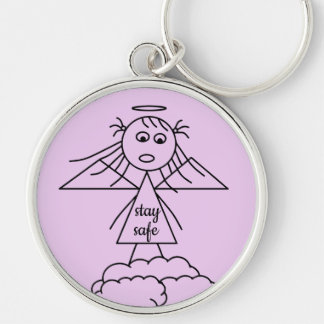 Stay Safe Cute Stick Angel Girl Figure Keychain