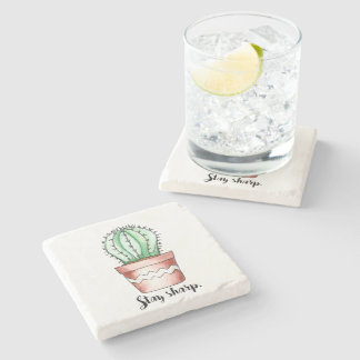 Stay Sharp Cactus Stone Coaster