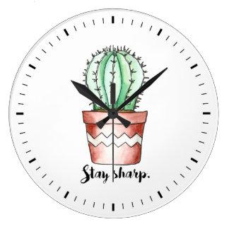 Stay Sharp Cactus Wall Clock