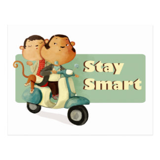 Stay Smart Scooter Monkeys Postcard