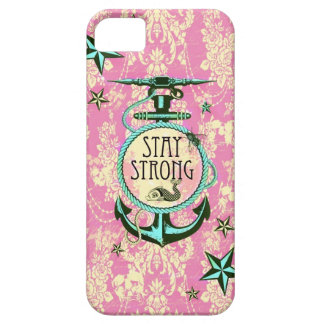 Stay strong nautical anchor art in retro style. iPhone 5 case