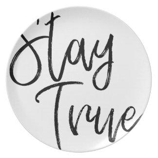Stay True word art brush effect Plate