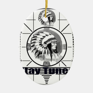 Stay Tuned with Indain Head Test Pattern Ceramic Oval Ornament