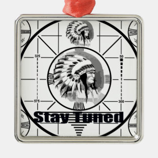 Stay Tuned with Indain Head Test Pattern Silver-Colored Square Ornament