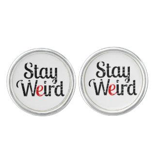 Stay Weird Distress Text Cufflinks