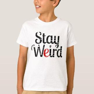 Stay Weird Distressed Text T-Shirt