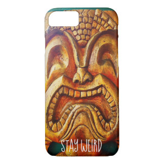 """""""Stay Weird"""" Quote, Fun Retro Wood Tiki Face Photo iPhone 8/7 Case"""