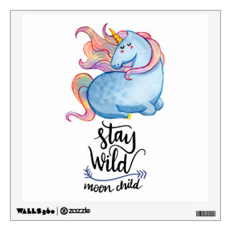 Stay Wild Blue Unicorn Wall Decal