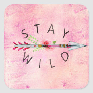 Stay Wild Boho Style Art >> Pink >> Roses >> Gypsy Square Sticker