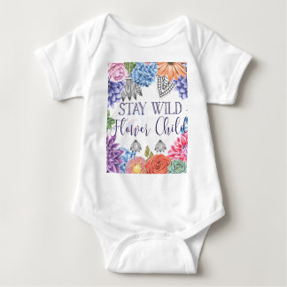 Stay Wild Flower Child - Boho Florals Baby Bodysuit