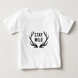 stay wild, text design with deer antlers baby T-Shirt