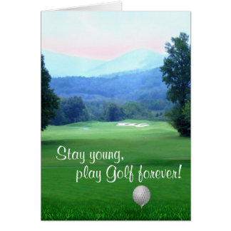 Stay young Happy Birthday Golf personalized Greeting Card