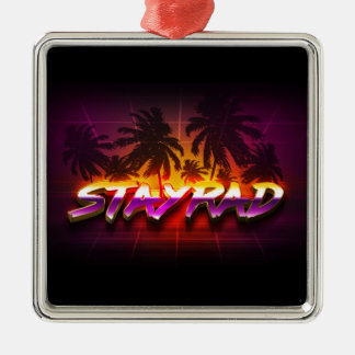 StayRad 80s Silver-Colored Square Ornament