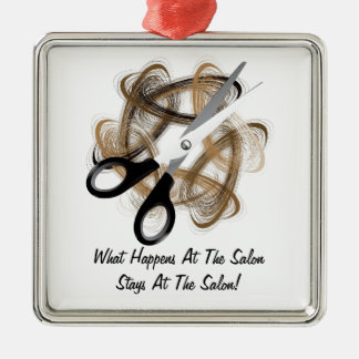 Stays At Salon Silver-Colored Square Ornament