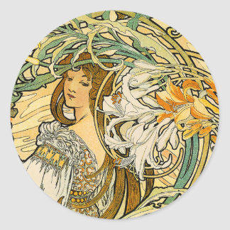 Stcker:  Mucha - Language of Flowers Classic Round Sticker
