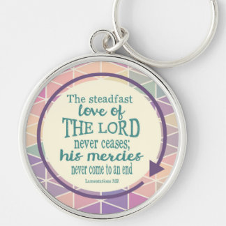 Steadfast Love of God, Scripture Triangle Pattern Silver-Colored Round Keychain
