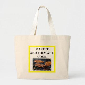 steak large tote bag