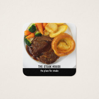 Steak Restaurant Design Square Business Card