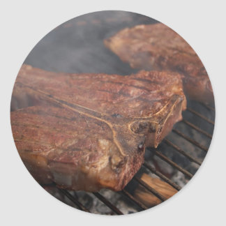 Steaks Grilling Barbecue Grills Meat Classic Round Sticker