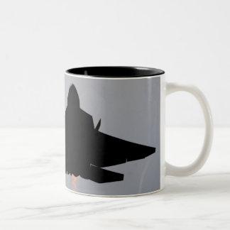 Stealth F-22 LEAVING GUAM Two-Tone Coffee Mug