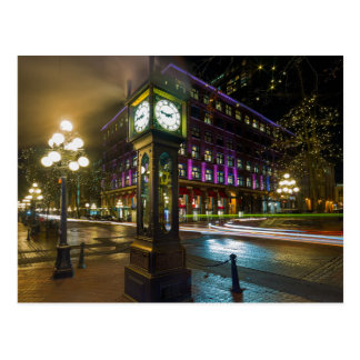 Steam Clock in Gastown Vancouver BC at Night Postcard
