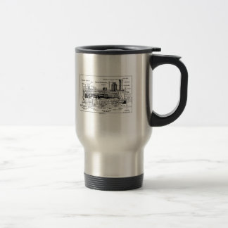 Steam Engine Diagram Travel Mug