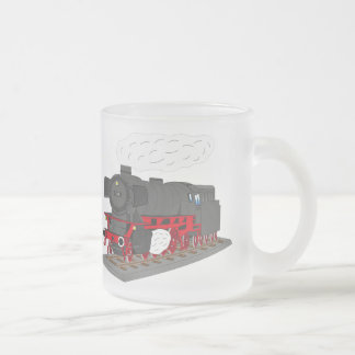 Steam engine frosted glass coffee mug